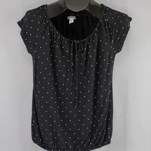 Old Navy Boho Knit Shirt Small Black Polka Dot